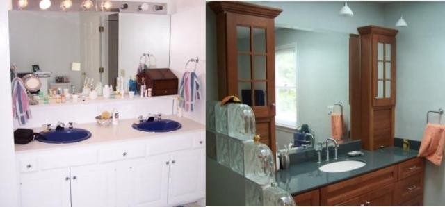 Bath 2 - Vanity before and after with glass blocks